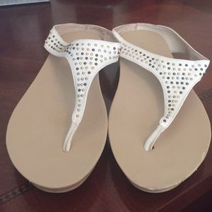 Kenneth Cole White Studded Wedge Sandal